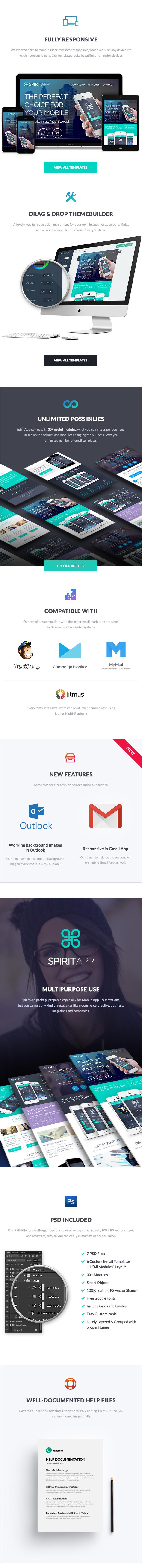 SpiritApp - Multipurpose Mobile App E-Newsletter + Builder Access - 1