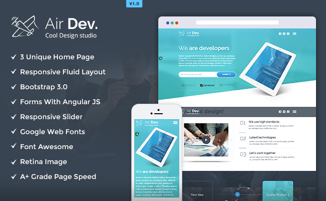 Airdev responsive website template