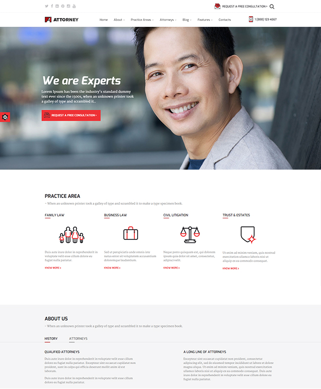 Offering Attorney HTML5 Template for Lawyers/Counsels/Advocates