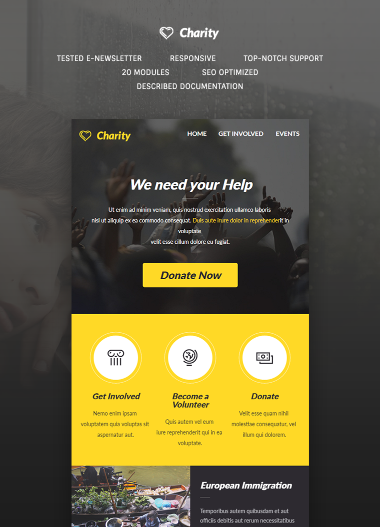 Charity E-newsletter Template: Buy Premium Charity E-newsletter ...