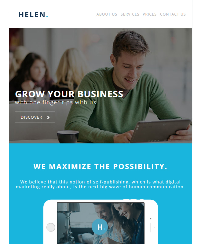 Serving User-friendly Features With Beautiful Helen Email Template