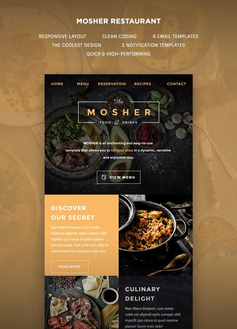 mosher restaurant email template buy premium mosher. Black Bedroom Furniture Sets. Home Design Ideas