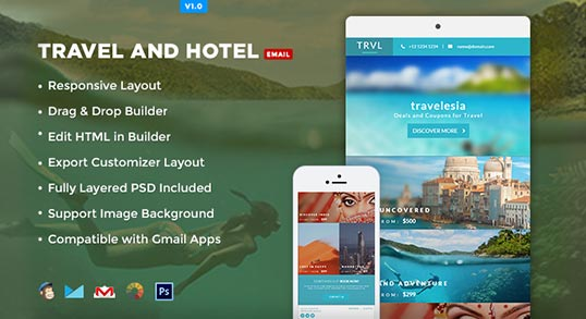 Travelesia: Responsive Email Template: Buy Premium Travelesia