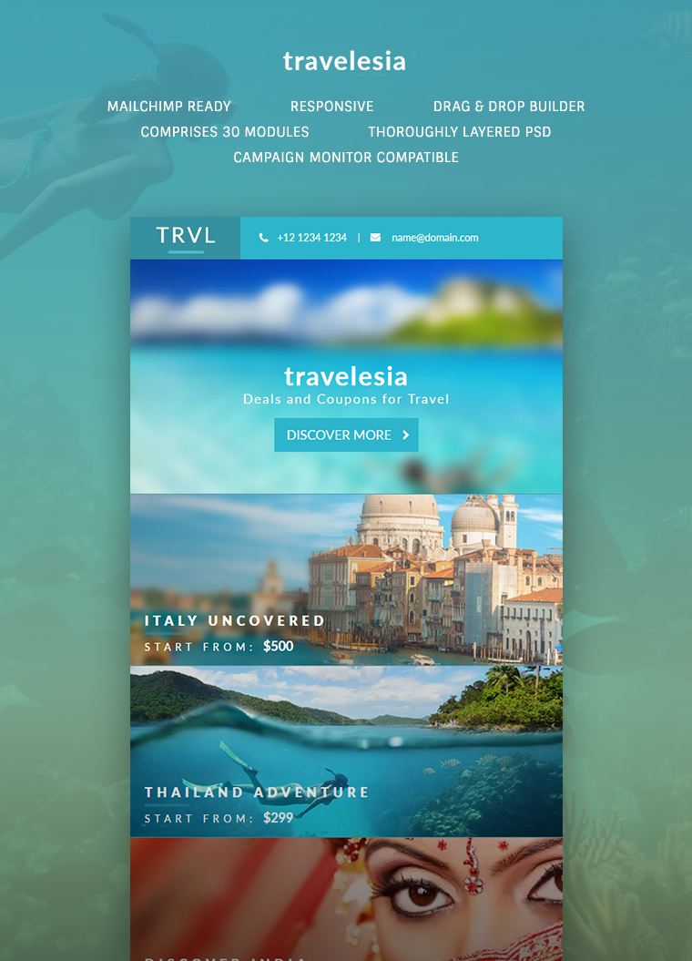 Travelesia: Responsive Email Template