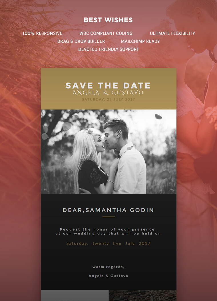 Wedding Invitation Card Email Template Buy Premium Wedding - Drag and drop mailchimp templates
