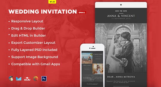 Wedding Invite Email Template: Wedding Invitation Card Email Template: Buy Premium