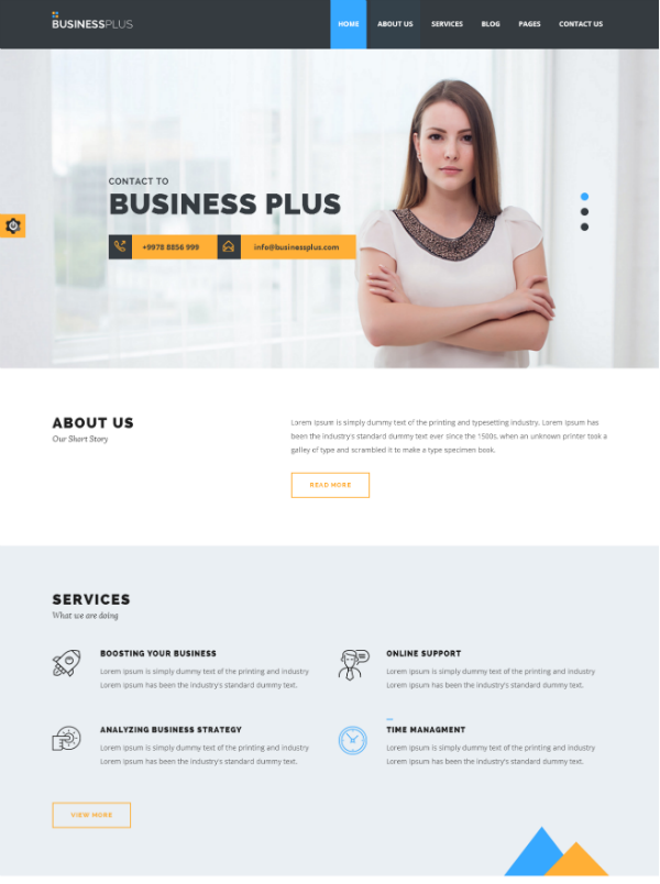 Leverage The Power of Advanced Features With Business Plus Corporate HTML5 Template