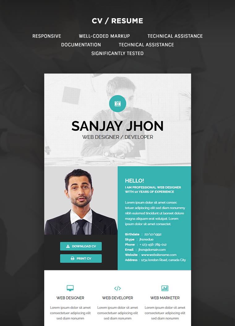CV/Resume Email Template