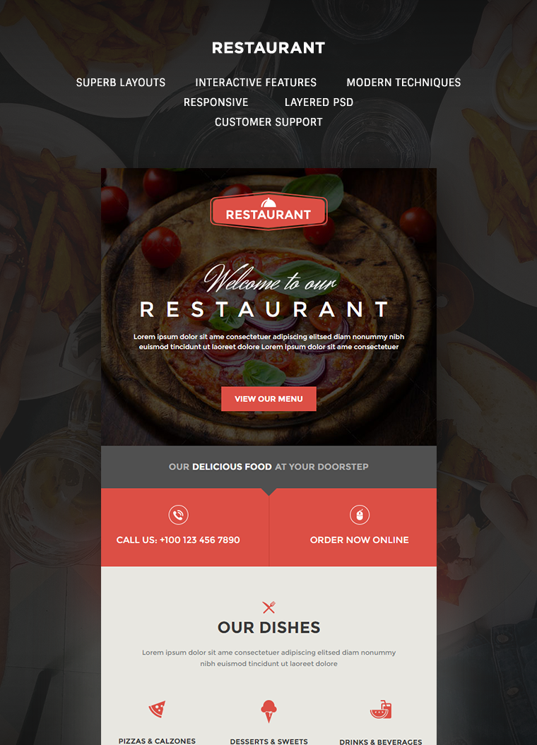 Restaurant Email Template Buy Premium Restaurant Email Template