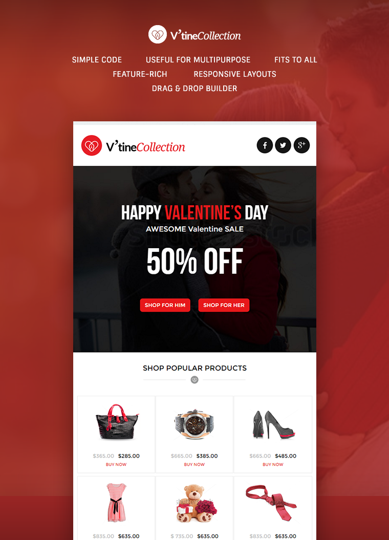 V'tineCollection Responsive E-Newsletter