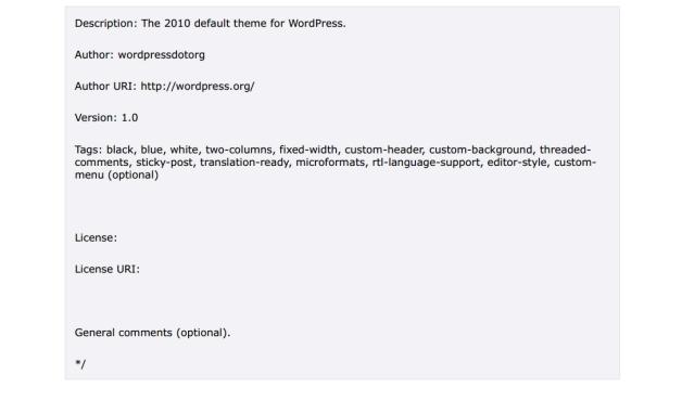 WordPress Theme Stylesheet