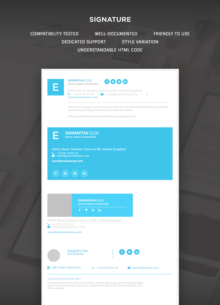 responsive signature e mail template
