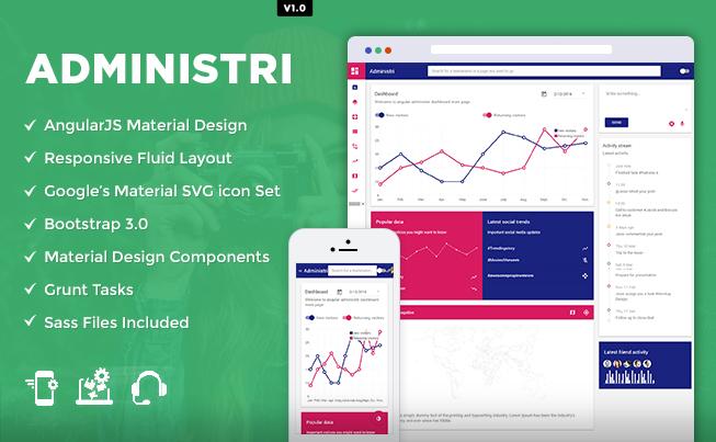 Administri – Admin Dashboard Using Material Design & Node