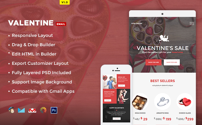 Valentine ecommerce email template