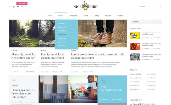 NiceBird Responsive Ghost Multipurpose Theme