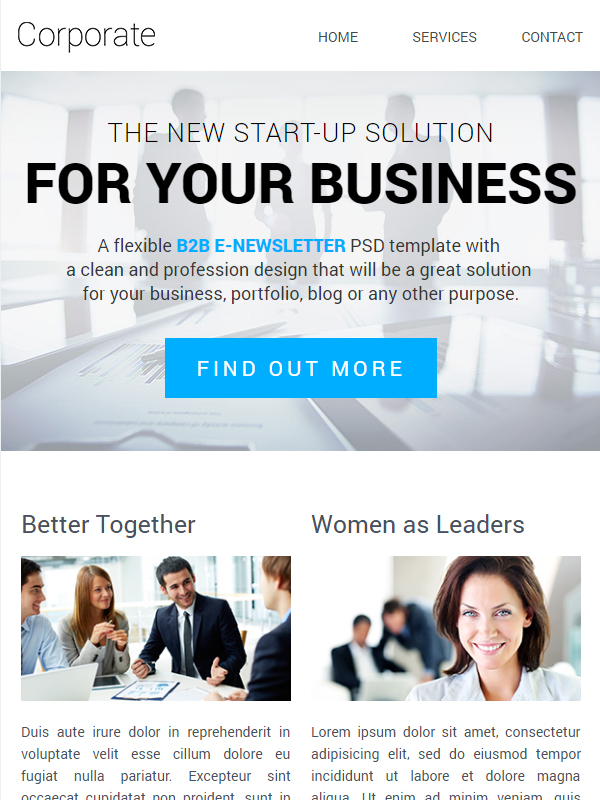 Corporate Email Template + Builder Access: Email Marketing The Better Way
