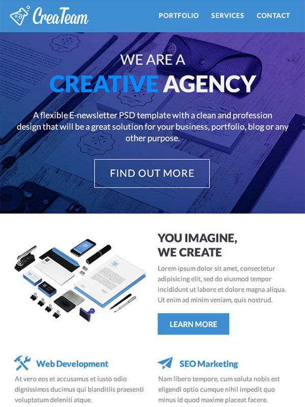 CreaTeam Multipurpose Email Template: Make Your Business Reachable
