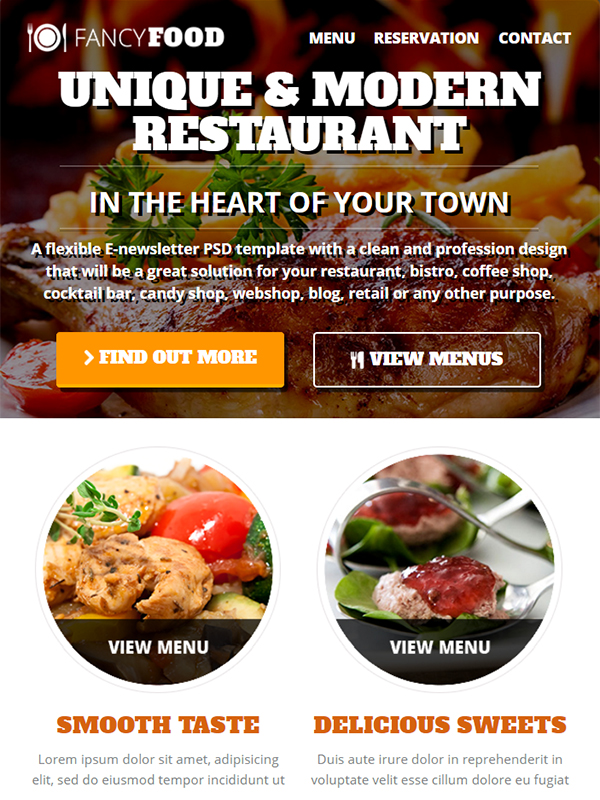 Fancy Food Restaurant Email Template Aids in Efficient Email Marketing