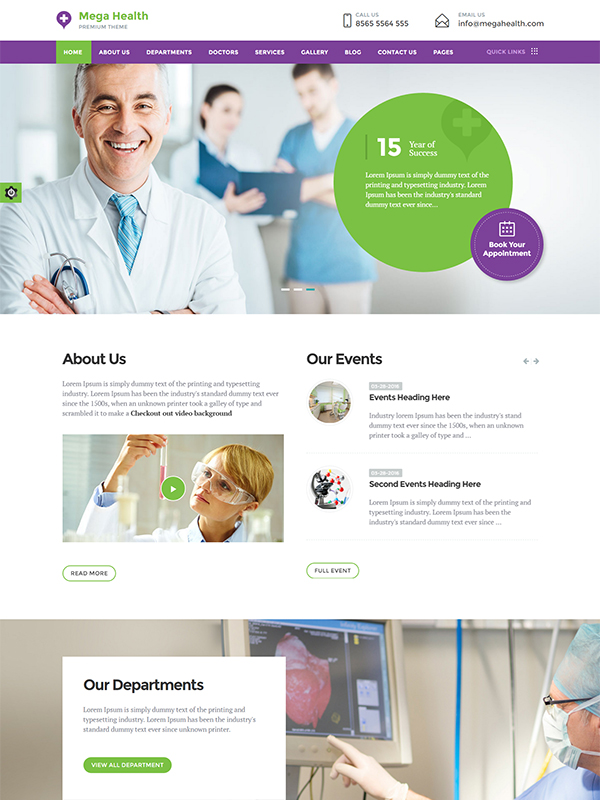 Mega Health HTML Template: A Treasure of Features For Medical Websites