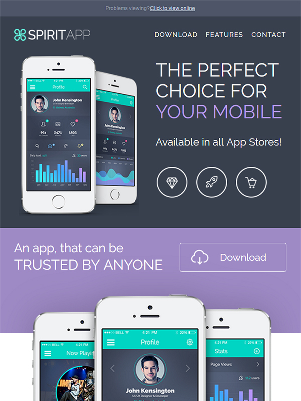 SpiritApp Multipurpose Email Template: Boost Your App Downloads With Effective Communication