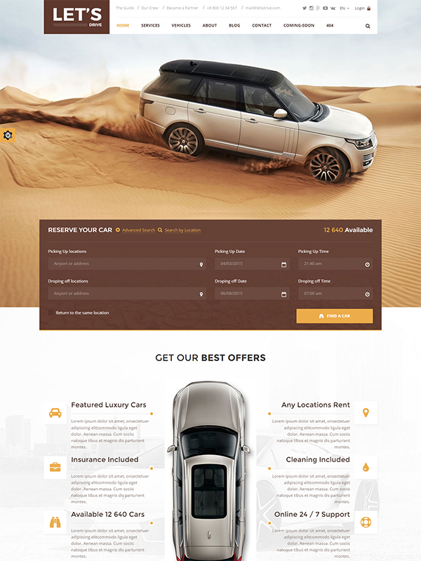 Lets Drive PSD Template: Boost Your Car Rental and Sale Business