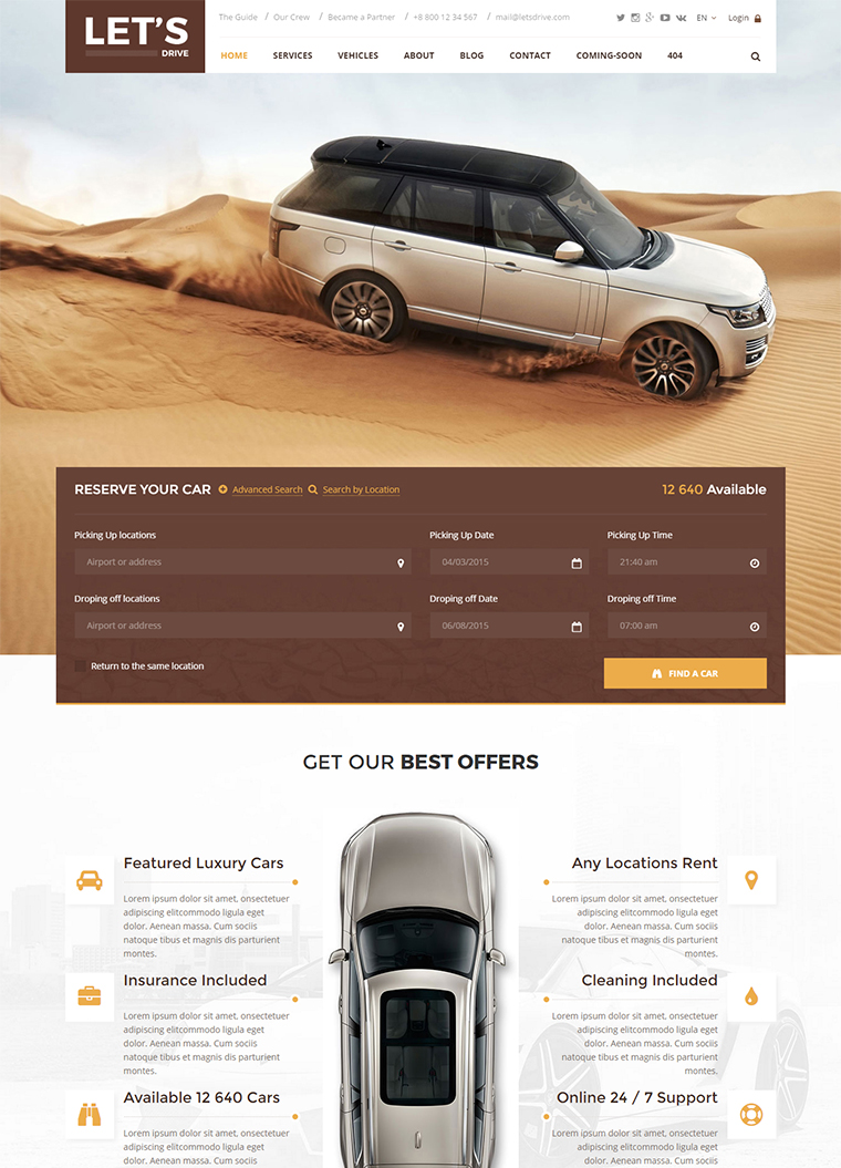 car sales html5 templates responsive rental dealer website