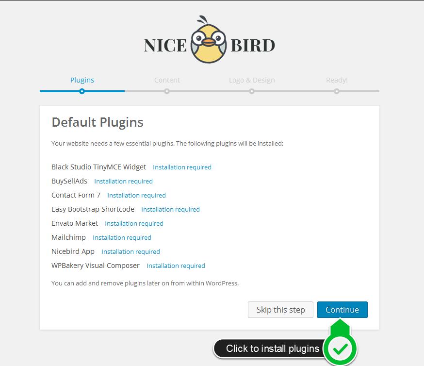 NiceBird WordPress Theme Setup Wizard Tutorial - theem'on