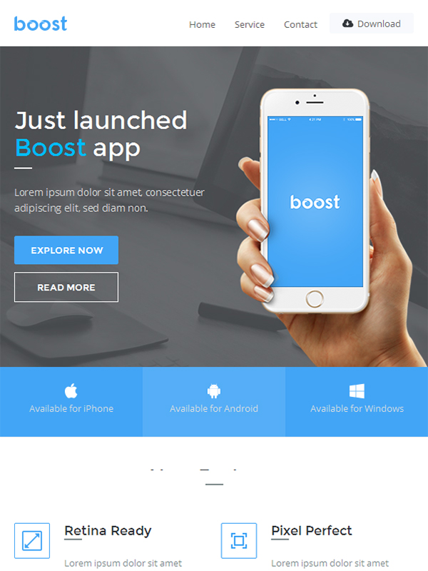 Boost- App Promotional Email Template Aids in Email Marketing For Apps