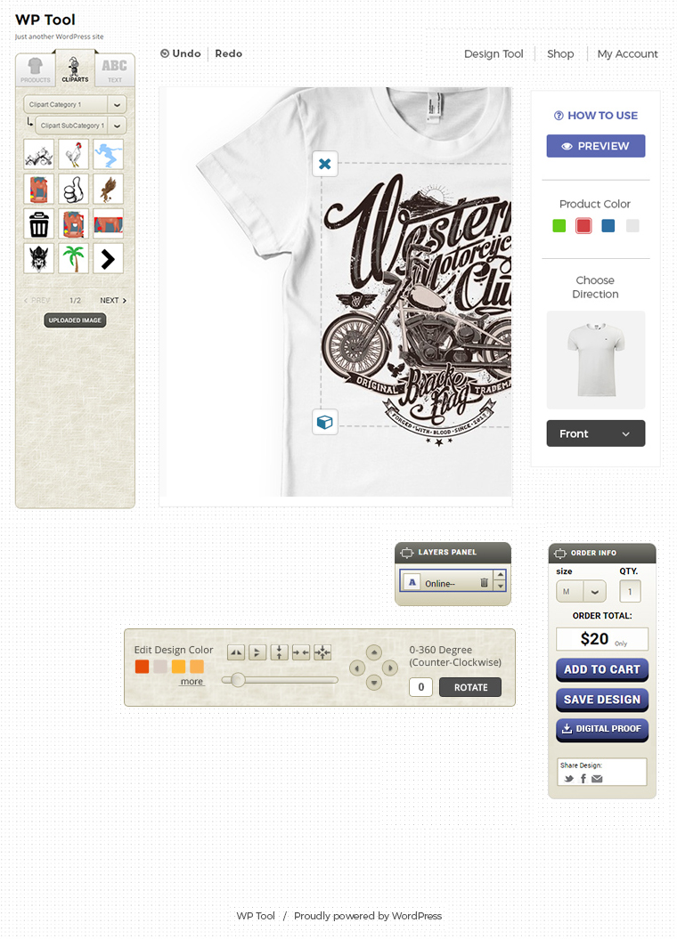 WordPress T-shirt Designer