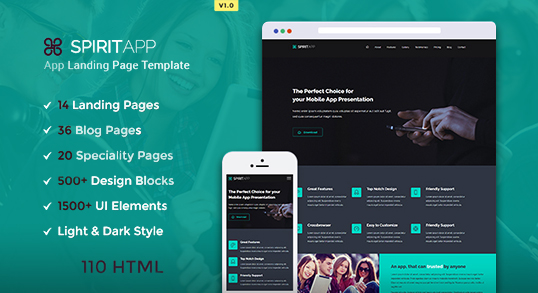 SpiritApp HTML Landing Page Buy Premium SpiritApp HTML