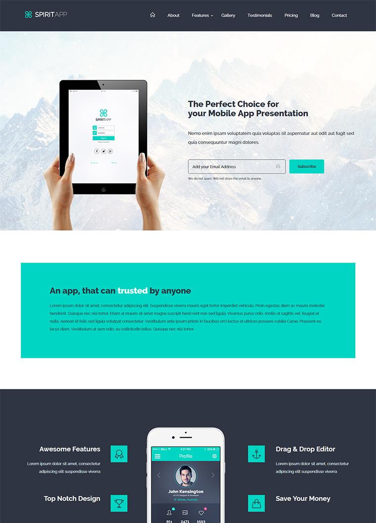 SpiritApp HTML Landing Page