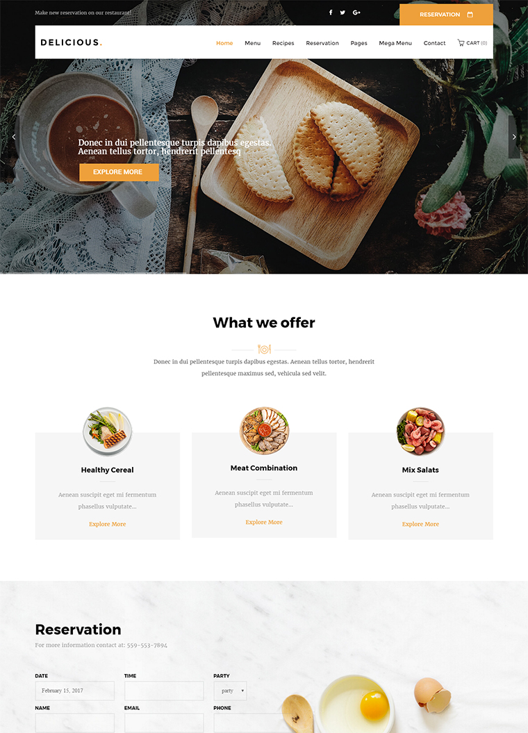 Delicious Restaurant WordPress Theme
