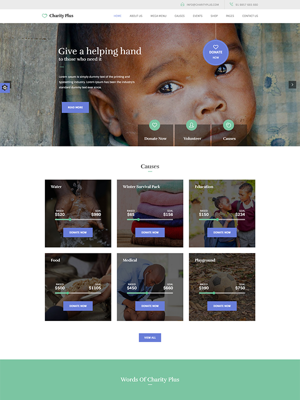 CharityPlus WordPress Themes With Modern Design Layouts