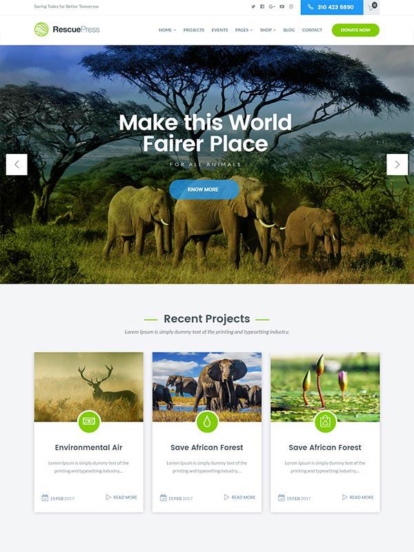 RescuePress Save Animal WordPress Theme