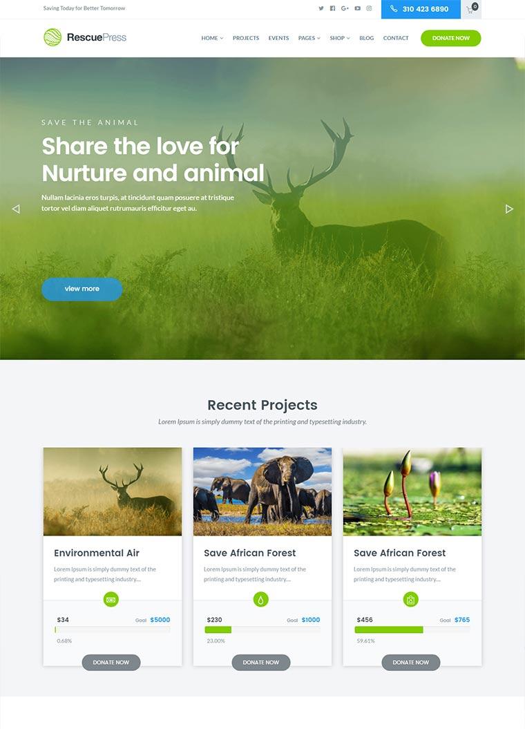 RescuePress Environmental WordPress Theme
